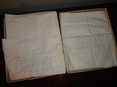 """Vintage Embroidered Set Of 2 Off White Pillow Case 32"""" L X 20"""" W"""