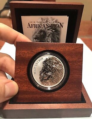 New 2018 African Lion 1 oz .999 Silver Coin 50k Minted W/Box & COA Republic Chad