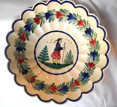 "Large H B Quimper Scalloped Faience Bowl - over 11"" in diameter - Breton Man"