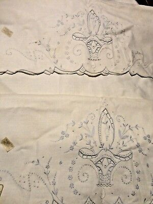 """Vintage Cut Work Hand Embroidered Set Of 2 Off White Pillow Case 34"""" L X 20"""" W"""