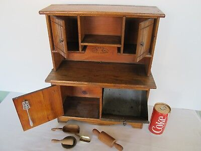 Early American Country Antique Cass Kitchen Cabinet Oak Saleman's Sample Toy
