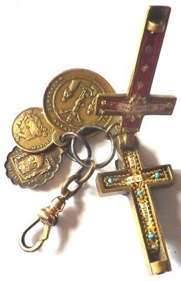 ⭐ Antique Relic Reliquary Crucifix Medals ✞ Saint Cross ☧ Francis Anne Celestine