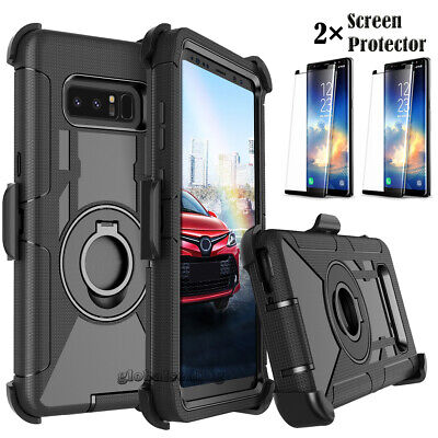 For Samsung Galaxy Note 9/8/5/4/3 Case Belt Clip Cover +Tempered Glass Protector