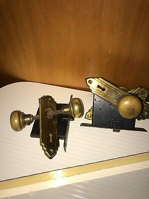 Brass Art Deco Door Knobs Locks Antique Vintage. Back Plates. Gold, Metal. Pair