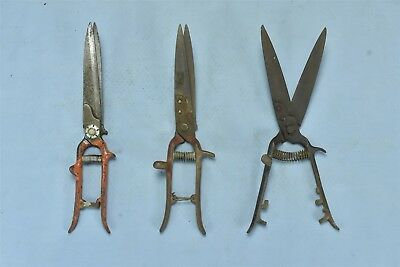 Vintage MIXED LOT of 3 GARDEN METAL HAND CLIPPERS SHEARS OLD #05703