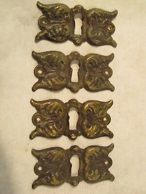 Antique Vintage Drawer Door Cabinet Pull Brass Patina Keyhole Escutcheon