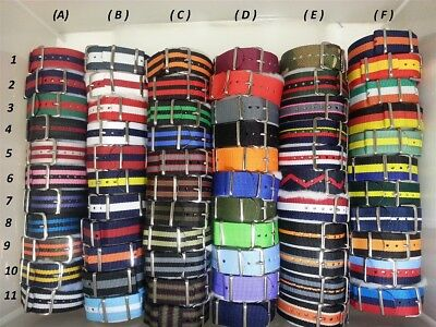 20mm VARIOUS Colors of nylon watch straps, auction is for ONE strap,FREE $6 bars