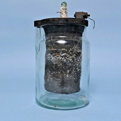 Antique Carbon Battery Glass Jar W / Spout