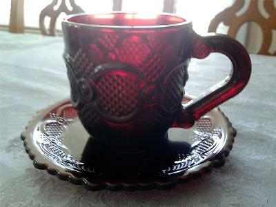 Avon Cape Cod Cup & saucer 2 sets available with Ruby Red sandwich glass in box
