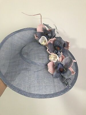Stunning Race Day Fascinator Milinery Hat Blue And Soft Pastels Pink
