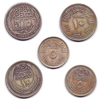 AH1376 & Other date  Egypt  Silver 5& 10 Piastre Extra Fine  rare Lot Of 5 coins