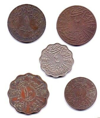 1921 To 1953 Iraq 1,2,4 &10  Fils King Faisal II Nickel Coin  Extra Fine  TO UNC