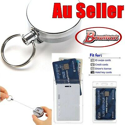 Silver Metal Retractable Pull Key Ring Chain Belt Clip Steel PVC Id Card Holder