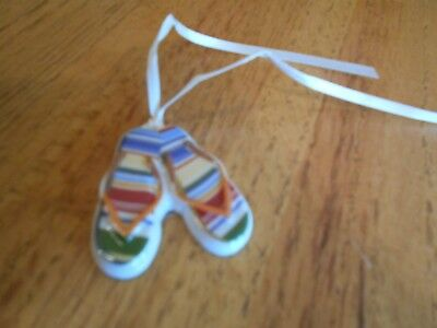Longaberger Sunny Day Tie-On Flip Flops summery colorful *shipping included!*