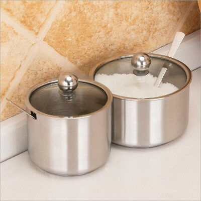 Visible Lid Stainless Steel Cruet Seasoning Condiment Pot Container & Spoon
