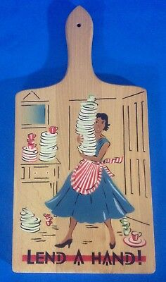 Vintage Nevco Cutting Board MCM '50s '60s Kitsch Lend A Hand Novelty Mid-century