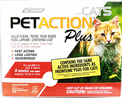8 Month Supply Pet Action PetAction Plus Flea Tick Drops for Cats 1.5 lbs. & Up