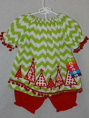 New Cukees Girls Hand Smocked 2PC Outfit Red Green Christmas Tree Girl 12M NWT