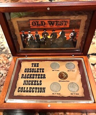 Old Western The Obsolete Racketeer Nickels Collection 5 Coin Set Wooden Box
