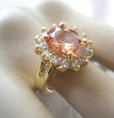 Vintage Jewellery Gold Ring Champagne and White Sapphires Antique Dress Jewelry