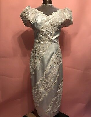 Vintage 1980s Rayon And Beaded Short Wedding Dress Off Shoulder Puffy Sleeves A+
