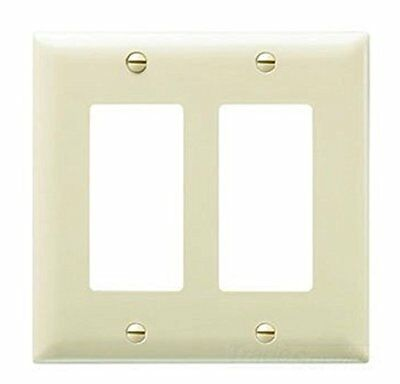 Pass and Seymour TP262-I Wall Plate, 2 Decorator, 2 Gang, Ivory, Pack of 5