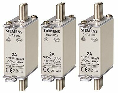Siemens 3NA3807 LV HRC Fuse Element, NH000, 20A, 500VAC 250VDC, Pack of 3