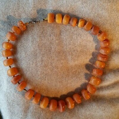 antique natural baltic amber eggyolk necklace Bernsteinkette 真正的琥珀项链
