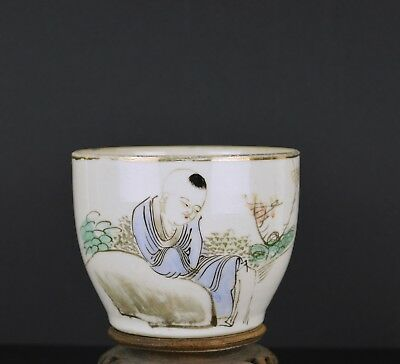 A Chinese Small Porcelain Pot With Figure And Calligraphy 19Th Century