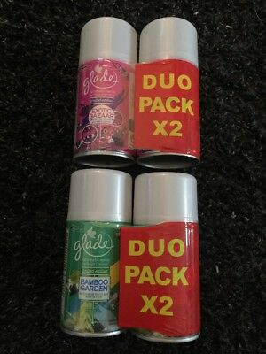 Lot de 4 GLADE Recharges automatic spray 2 exotic bazaar + 2 bamboo garden Neufs