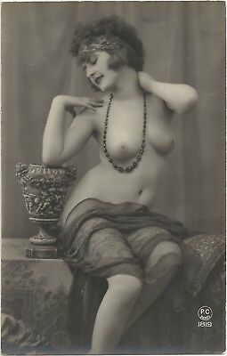 Rare original old French real photo postcard Art Deco nude study 1920s RPPC #367