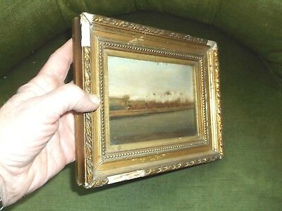 Very Rare Antique 19Th C Miniature Framed Oil On Board Painting Of A Steam Train