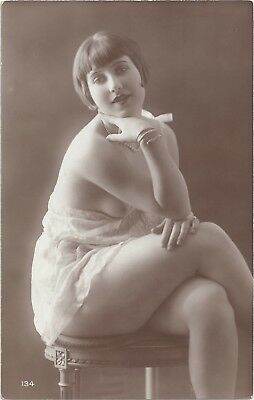 Rare original old French real photo postcard Art Deco nude study 1920s RPPC #371