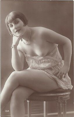 Rare original old French real photo postcard Art Deco nude study 1920s RPPC #372