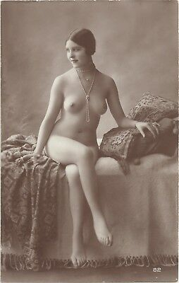 Rare original old French real photo postcard Art Deco nude study 1920s RPPC #299