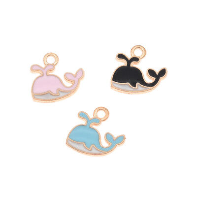 10pcs Colorful Whale Shaped Pendants Necklace Cute Jewelry Making Accessories
