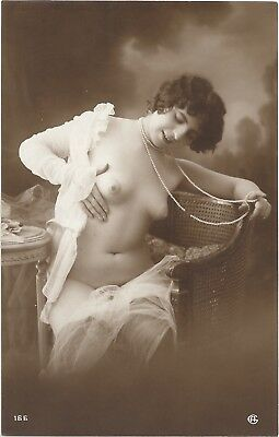 Rare original old French real photo postcard Art Deco nude study 1910s RPPC #284