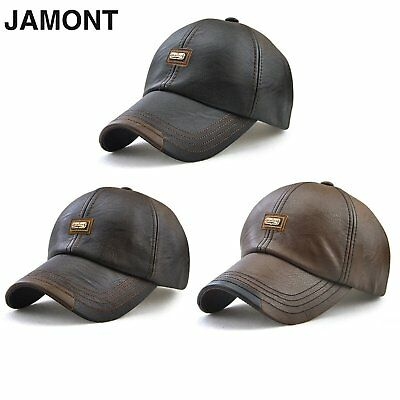 JAMONT Men Unisex Baseball Cap Golf Ball Sports cap PU Leather Peaked Hat NS