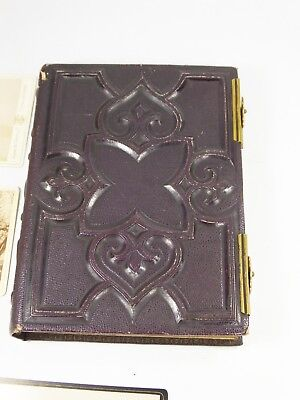 Antique Victorian Gothic purple tooled leather photograph photo album cdv photos