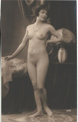 Rare original old French real photo postcard Art Deco nude study 1920s RPPC #323