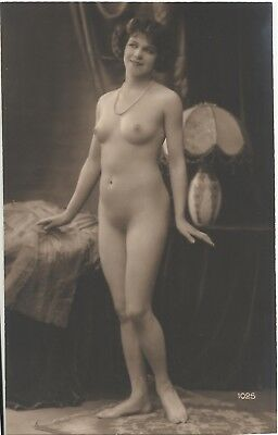 Rare original old French real photo postcard Art Deco nude study 1920s RPPC #322