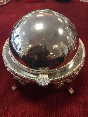 Beautiful Vintage Silver Plated Roll Top Butter/caviar Dish