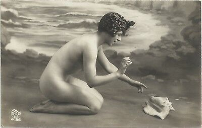 Rare original old French real photo postcard Art Deco nude study 1920s RPPC #373