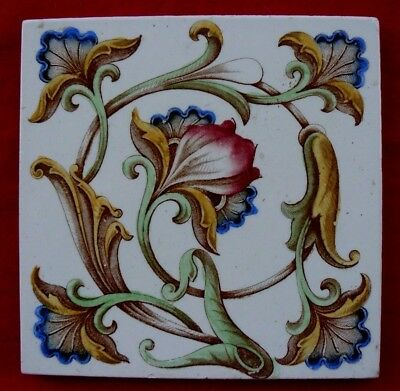 Antique Art Nouveau Print & Tint Tile Stylised Red Blue Yellow Green Flowers VGC