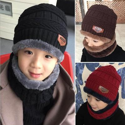 Fashion New Kids Winter Hat and Scarf Set Warm Knit Beanie Cap and Circle Scarf