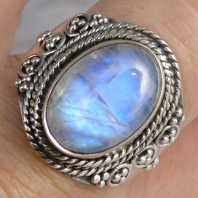 Gemstone STATEMENT Ring Size US 8.25 SILVERSARI Solid 925 Stg Silver + MOONSTONE