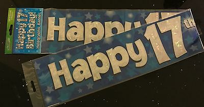 17th Boys Birthday Banner Blue Foil 27m Will Split Into 3