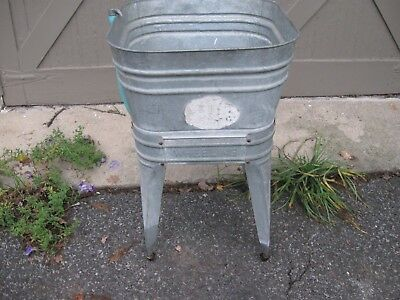 Vintage Rustic Farmhouse Galvanized  wash tub & stand