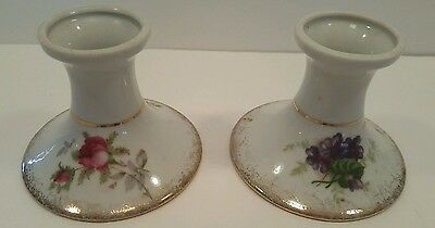 Porcelain Candlestick Holders Lefton's Exclusive Gold Trim ~ Vintage Pair