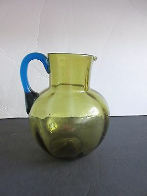 Vtg New England Art Glass Bulbous Pitcher Amber with Blue Handle